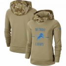 Women's Detroit Lions Khaki 2019 Salute to Service Therma Printed Pullover Hoodie
