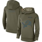 Women's Detroit Lions Olive Salute To Service Printed Pullover Hoodie
