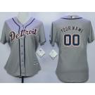 Women's Detroit Tigers Customized Grey Cool Base Jersey