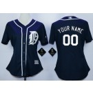 Women's Detroit Tigers Customized Navy Blue Cool Base Jersey