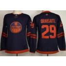 Women's Edmonton Oilers #29 Leon Draisaitl Navy 50th Anniversary Authentic Jersey