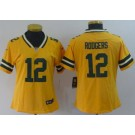 Women's Green Bay Packers #12 Aaron Rodgers Limited Yellow Inverted Vapor Untouchable Jersey