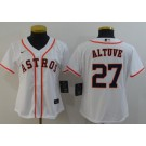 Women's Houston Astros #27 Jose Altuve White 2020 Cool Base Jersey