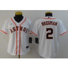 Women's Houston Astros #2 Alex Bregman White 2020 Cool Base Jersey