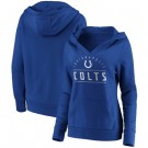 Women's Indianapolis Colts Blue Iconic League Leader V Neck Pullover Hoodie