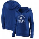 Women's Indianapolis Colts Royal Vintage Arch V Neck Pullover Hoodie