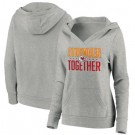 Women's Kansas City Chiefs Heather Gray Stronger Together Crossover Neck Printed Pullover Hoodie 0711