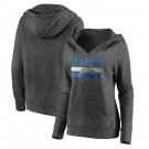 Women's Los Angeles Chargers Charcoal First String V Neck Pullover Hoodie