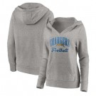 Women's Los Angeles Chargers Gray Victory Script V Neck Pullover Hoodie