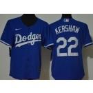 Women's Los Angeles Dodgers #22 Clayton Kershaw Blue Cool Base Jersey
