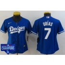 Women's Los Angeles Dodgers #7 Julio Urias Blue 2020 World Series Champions Cool Base Jersey