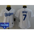Women's Los Angeles Dodgers #7 Julio Urias White 2020 World Series Champions Cool Base Jersey