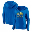 Women's Los Angeles Rams Blue Victory Script V Neck Pullover Hoodie