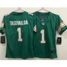 Women's Miami Dolphins #1 Tua Tagovailoa Limited Aqua Throwback Vapor Untouchable Jersey