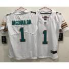 Women's Miami Dolphins #1 Tua Tagovailoa Limited White Throwback Vapor Untouchable Jersey