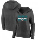 Women's Miami Dolphins Charcoal First String V Neck Pullover Hoodie