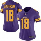 Women's Minnesota Vikings #18 Justin Jefferson Limited Purple Rush Color Jersey