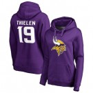Women's Minnesota Vikings #19 Adam Thielen Purple Team Logo V Neck Pullover Hoodie