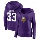 Women's Minnesota Vikings #33 Dalvin Cook Purple Team Logo V Neck Pullover Hoodie