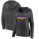 Women's Minnesota Vikings Charcoal First String V Neck Pullover Hoodie