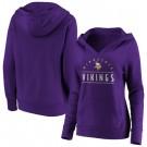 Women's Minnesota Vikings Purple Iconic League Leader V Neck Pullover Hoodie