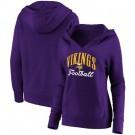 Women's Minnesota Vikings Purple Victory Script V Neck Pullover Hoodie