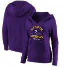 Women's Minnesota Vikings Purple Vintage Arch V Neck Pullover Hoodie