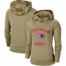 Women's New England Patriots Khaki 2019 Salute to Service Therma Printed Pullover Hoodie