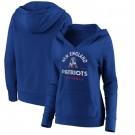 Women's New England Patriots Royal Vintage Arch V Neck Pullover Hoodie