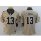 Women's New Orleans Saints #13 Michael Thomas Limited Gold Inverted Vapor Untouchable Jersey