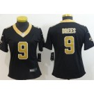 Women's New Orleans Saints #9 Drew Brees Limited Black Vapor Untouchable Jersey