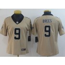 Women's New Orleans Saints #9 Drew Brees Limited Gold Inverted Vapor Untouchable Jersey