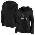 Women's New Orleans Saints Black Iconic League Leader V Neck Pullover Hoodie