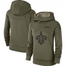 Women's New Orleans Saints Olive Salute To Service Printed Pullover Hoodie