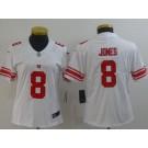 Women's New York Giants #8 Daniel Jones Limited White Vapor Untouchable Jersey