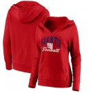Women's New York Giants Red Victory Script V Neck Pullover Hoodie
