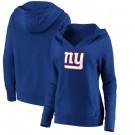 Women's New York Giants Royal Primary Team Logo V Neck Pullover Hoodie