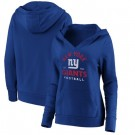 Women's New York Giants Royal Vintage Arch V Neck Pullover Hoodie