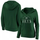 Women's New York Jets Green Iconic League Leader V Neck Pullover Hoodie
