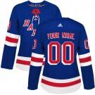 Women's New York Rangers Customized Blue Authentic Jersey
