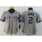 Women's New York Yankees #2 Derek Jeter Gray Player Name 2020 Cool Base Jersey