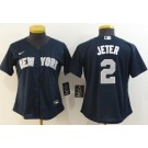 Women's New York Yankees #2 Derek Jeter Navy Player Name 2020 Cool Base Jersey