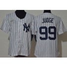 Women's New York Yankees #99 Aaron Judge White Player Name 2020 Cooperstown Collection Jersey