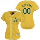 Women's Oakland Athletics Customized Yellow Cool Base Jersey
