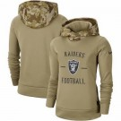 Women's Oakland Raiders Khaki 2019 Salute to Service Therma Printed Pullover Hoodie