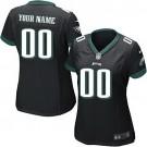 Women's Philadelphia Eagles Customized Game Black Jersey
