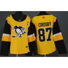 Women's Pittsburgh Penguins #87 Sidney Crosby Yellow Alternate Jersey