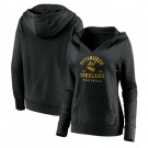 Women's Pittsburgh Steelers Black Vintage Arch V Neck Pullover Hoodie