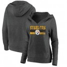 Women's Pittsburgh Steelers Charcoal First String V Neck Pullover Hoodie