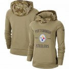 Women's Pittsburgh Steelers Khaki 2019 Salute to Service Therma Printed Pullover Hoodie